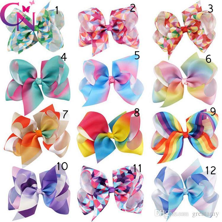 12 Kolory Cute Baby Girls Bow Knot Hairpin Rainbow Colors Dzieci Moda Włosy Akcesoria Geometria Dziewczynka Barrettes