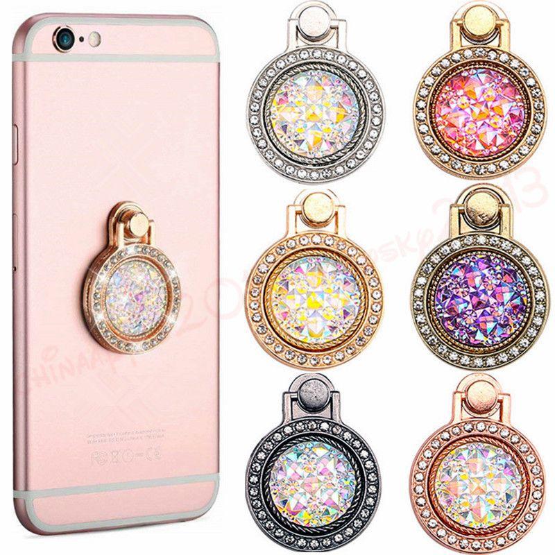 phone holder Diamond Bling Metal Finger Ring Holder 360 degree Cell phone Stand Bracket for iphone 7 8 x xr xs samsung smart phone