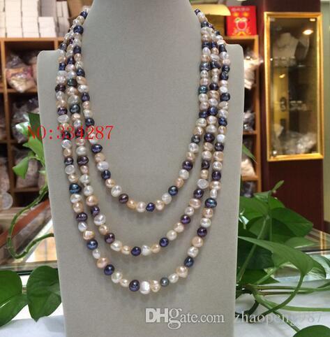"""Новый природный пресноводный жемчуг барокко многоцветный ожерелье 7-8 мм 70"""" длинный свитер цепи"""