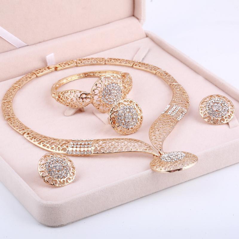 Dubai Gold Jewelry Sets Mariage Nigérian Perles africaines Cristal Bijoux De Mariée Set Strass Parure Bijoux Éthiopiens