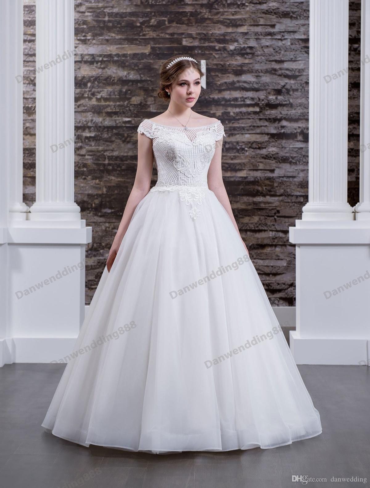 Charming White Tulle Scoop Applique Beads A-Line Wedding Dresses Bridal Pageant Dresses Wedding Attire Dresses Custom Size 2-16 ZW608067