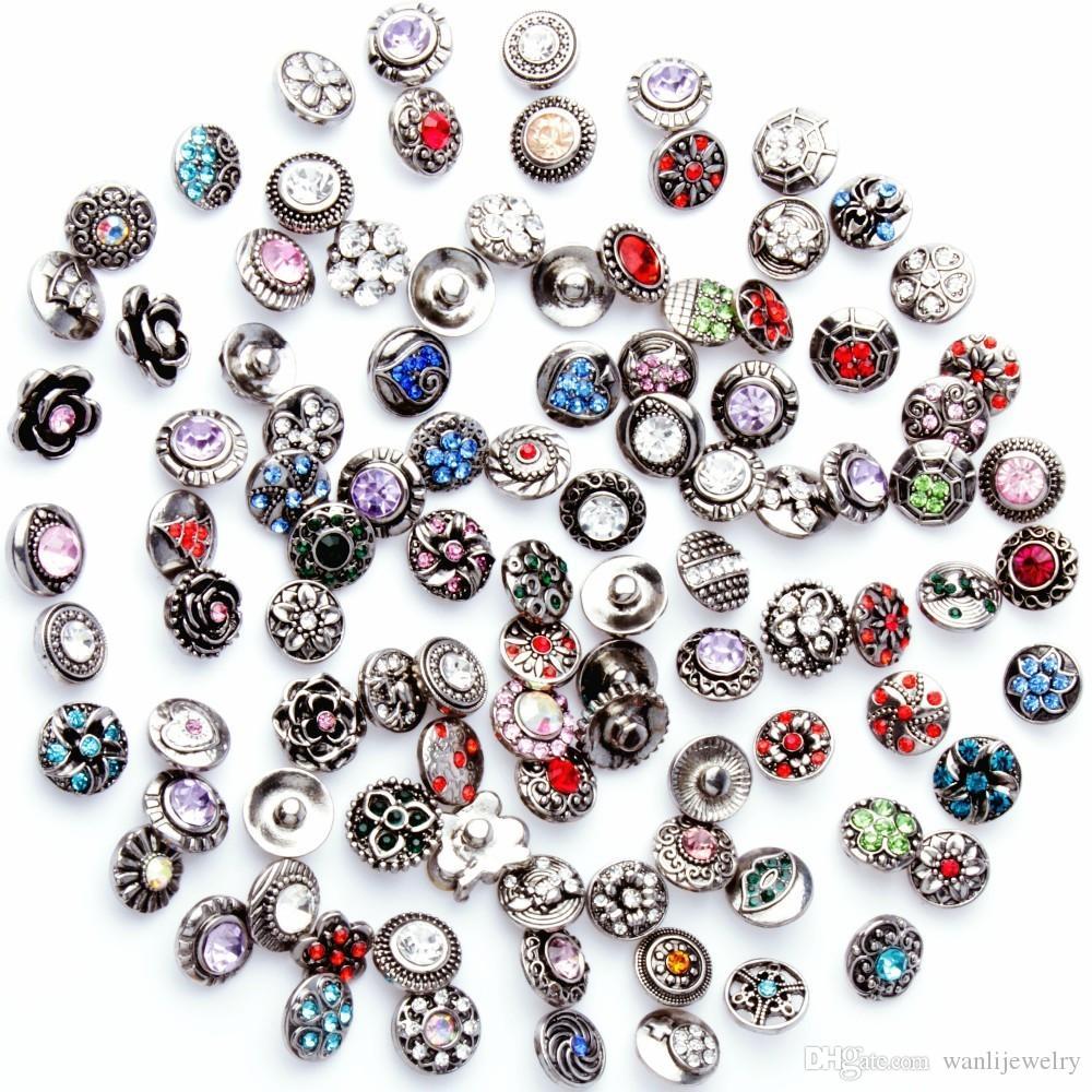 Nouveau 50 pcs / lot Mélangé Strass Styles Métal Charmes 12mm Bouton Pression Bijoux Pour Snaps Bracelet DIY Snap Bijoux