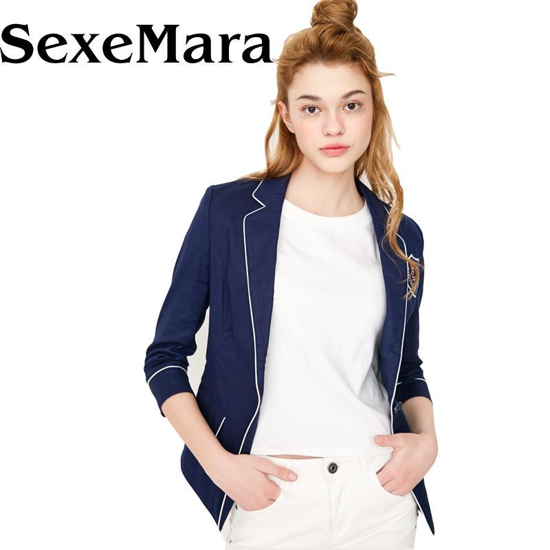 Kadın takım elbise blazers sexemara kadın ve ceketler yaz ince tek göğüslü blazer kadın ofis takım mavi beyaz casaco feminino yyj286