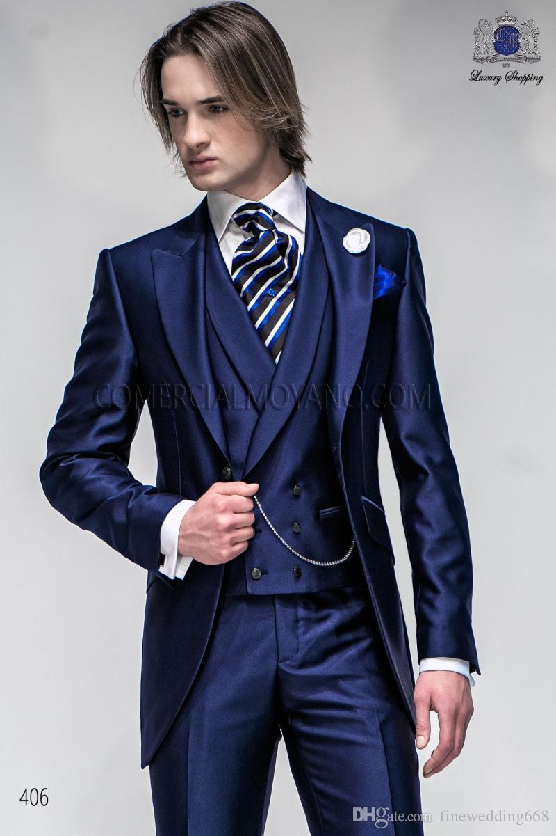 Su misura più recente blu navy picco risvolto sposo da sposa sposo abiti da sposa / ballo / cena miglior uomo giacca (giacca + cravatta + vest + pantaloni) A A