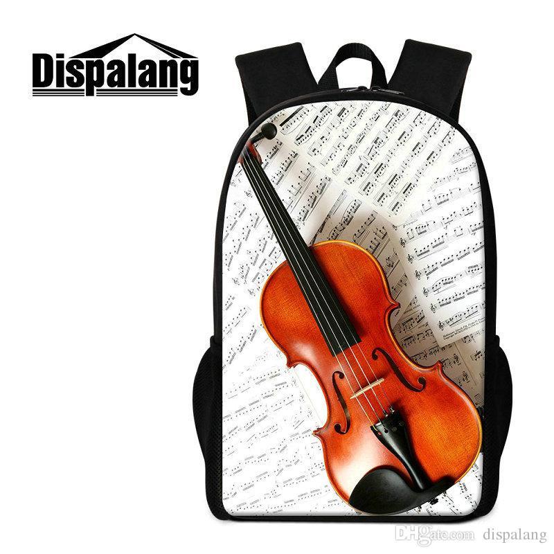 Guitar Violin Printed School Backpack For Teenage Girls Boys Musical Design Primary Schoolbags Bookbags Women Travel Shoulder Bagpack Rugtas