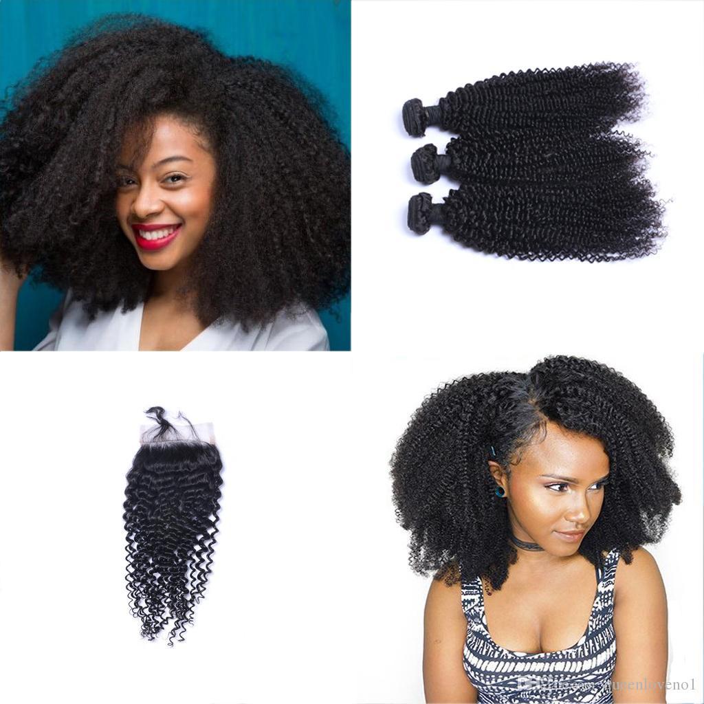 viziosa brasiliana Curl fasci di capelli con chiusura gratuita di Middle 3 Parte doppia trama estensioni dei capelli umani tingibili tessuto dei capelli umani DHL