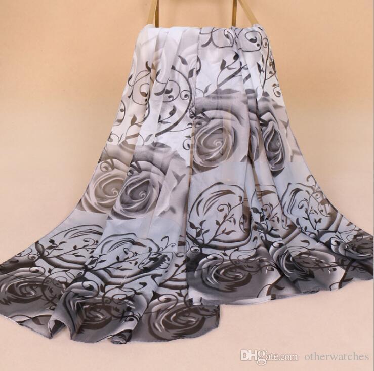 Sciarpa di seta nuova sciarpa di seta sfumata sciarpe grandi rose