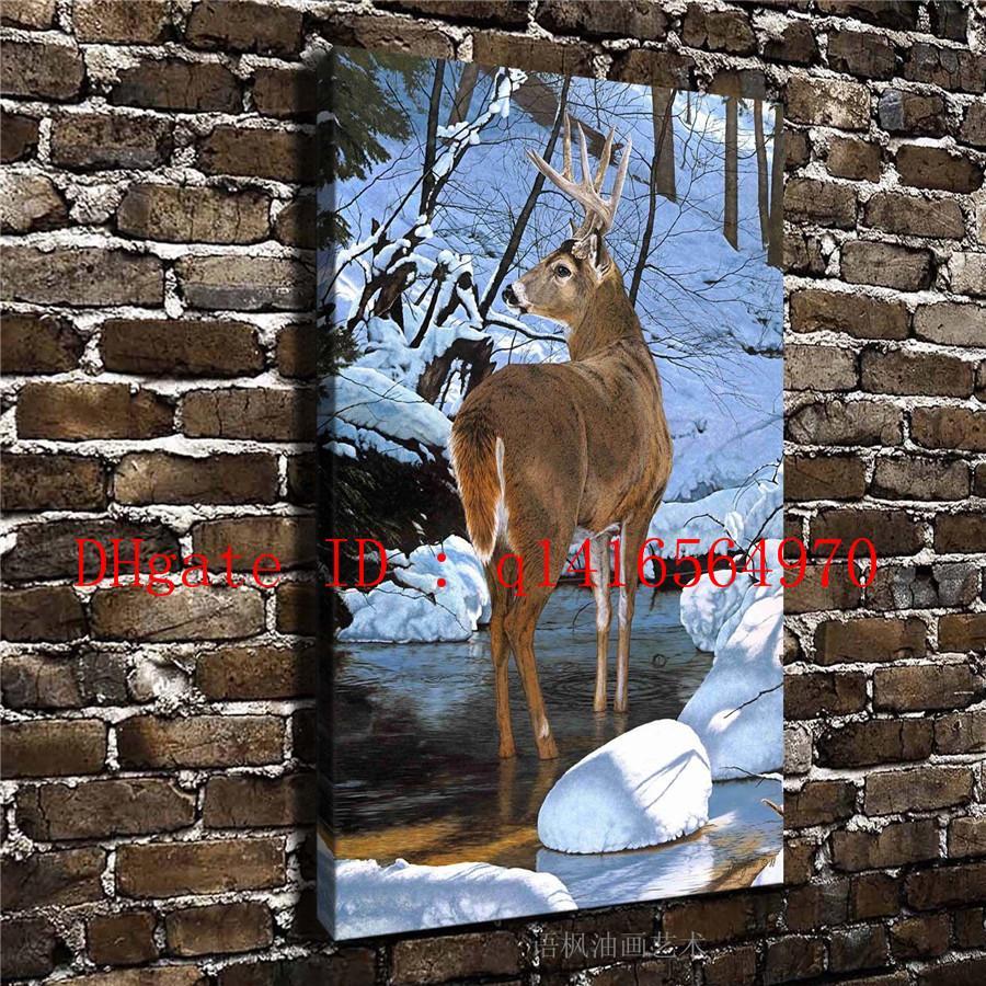 Animal Veados Neve Rio Paisagem, Cópias Da Lona Arte Da Parede Pintura A Óleo Home Decor 16x24 12x18 (Sem Moldura / Emoldurado)