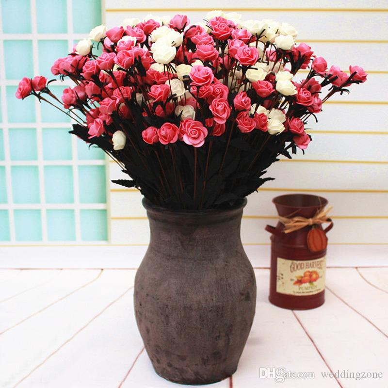 Pastoral style 15 Heads/Bouquet Roses with Silk flower heads Artificial flowers Fake Silk Flower For Wedding/House Decoration