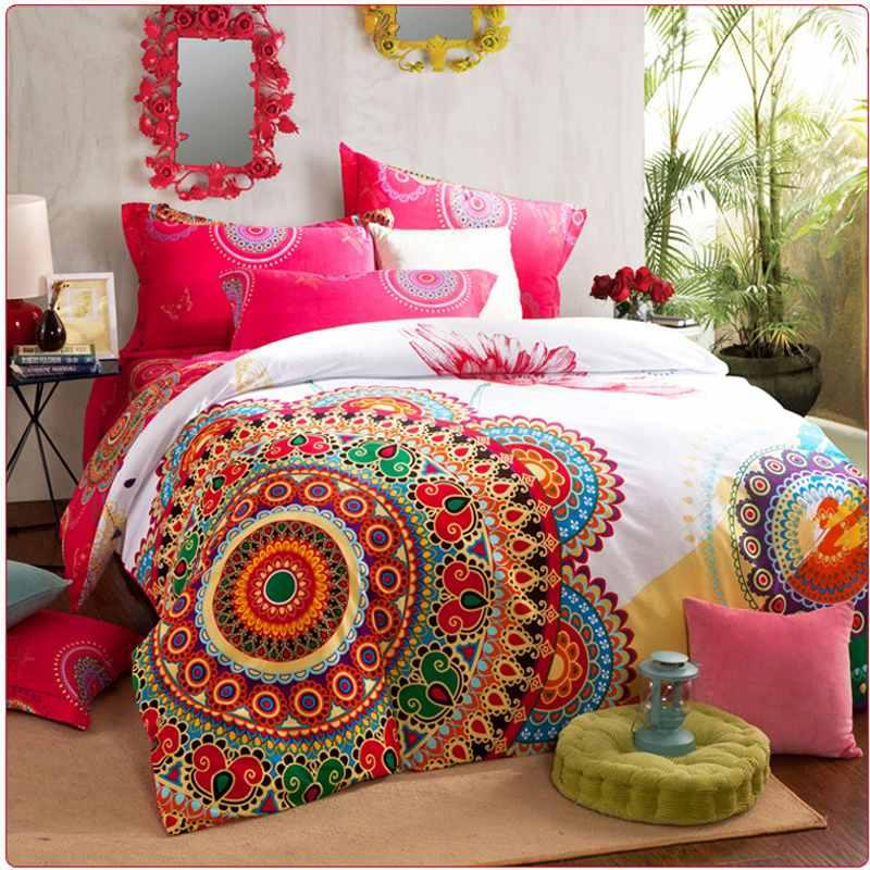 boho bedding sets queen king size bedclothes bohemia duvet cover set, bedsheet pillowcase 4pc bed set 100% Cotton