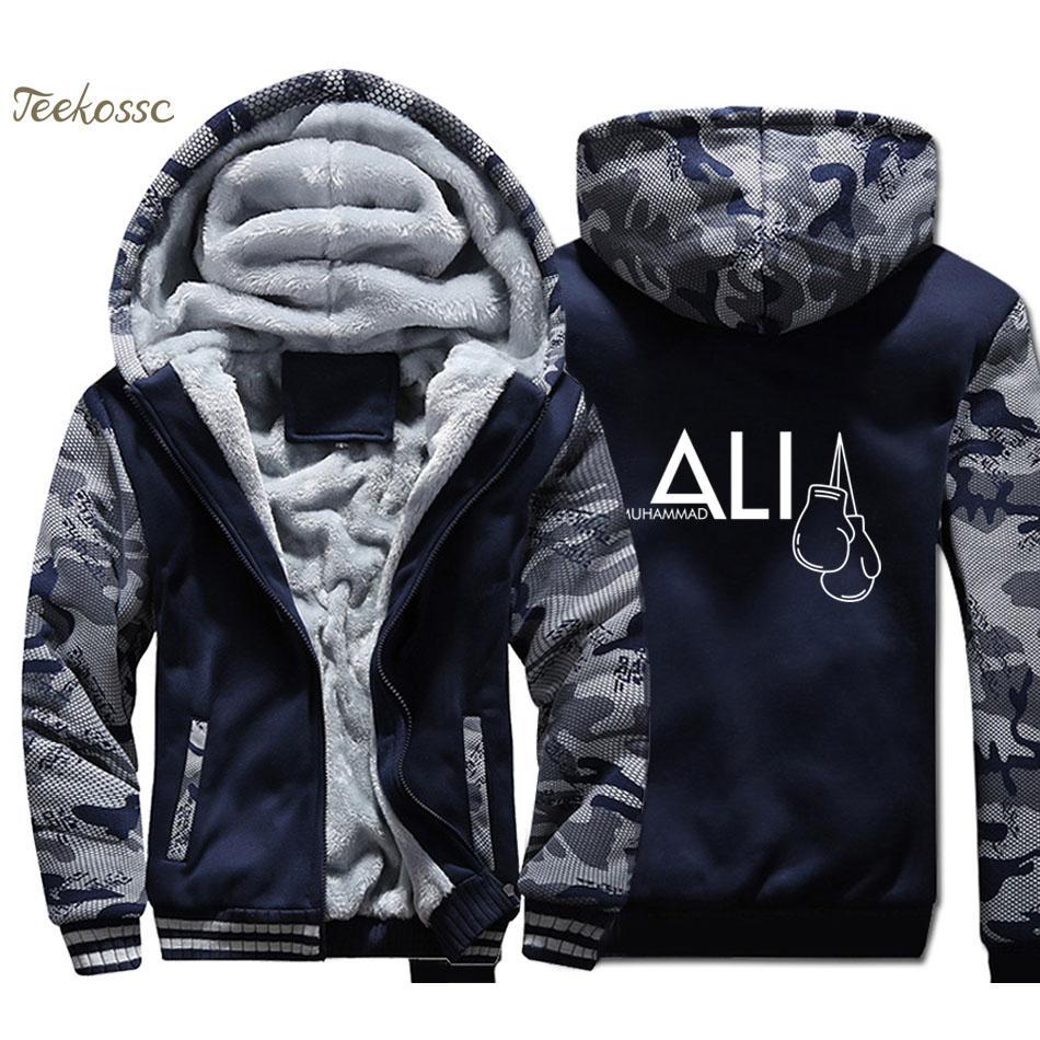 MUHAMMAD ALI Толстовка Мужчины темно-синий камуфляж Толстовка с капюшоном Пальто 2018 Зимний теплый флис Толстая печати куртка плюс размер 4XL