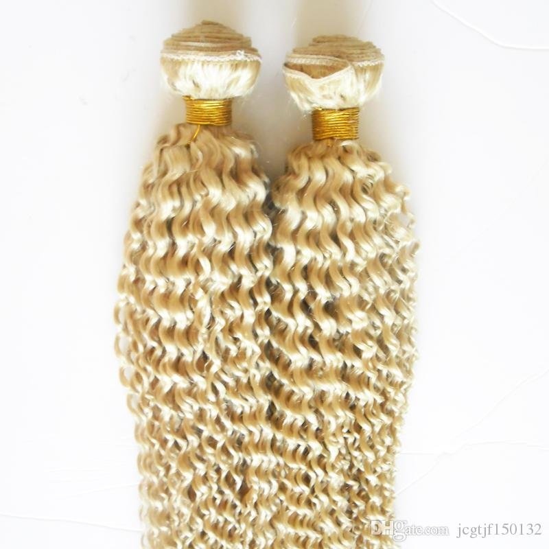Mongolian Afro Kinky Curly Hair Weave 4B 4C 200g Human Hair Extensions Non-Remy Hair 2PCS Weaving Bundles Machine Double Weft 613 Blonde