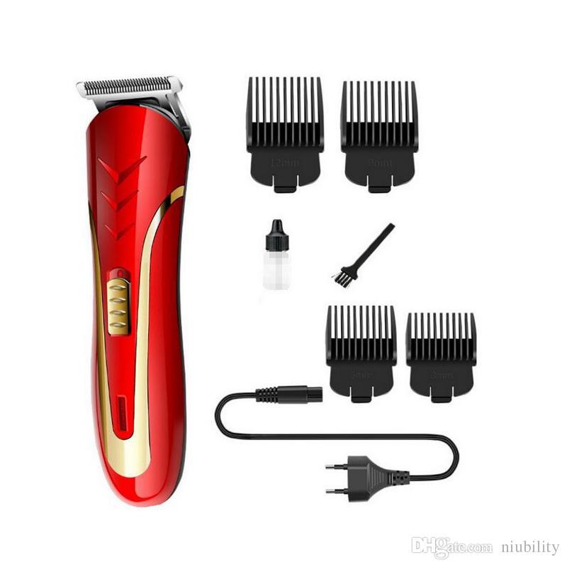 Kemei KM-1409 del pelo de las podadoras maquinilla de afeitar eléctrica de los hombres de acero al carbono cabezal de corte de pelo recargable Trimmer eléctrico Barba Trimer