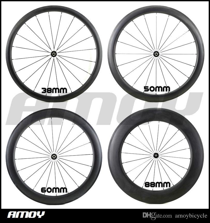 Road Bike 700C 38/50/60 / 88mm عجلات كاملة من الكربون كاملة من ألياف الكربون Wheelset matte / لامع wheel bike bike
