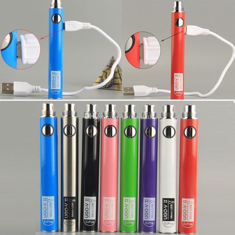 UGO-V II 2 Vape Pen Batteries 510 Thread Battery 600mAh 900mah Ecig Vapes Pens Battery with Micro USB Cable for CE4 EGO Vaporizer Cartridges