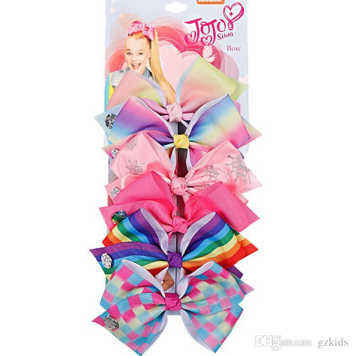 Jojo Siwa Bow 6 Color One Card Kids Hairpin Bow Tie Girl Hair Accessories Best Xmas Present Stocking Filler for Girls