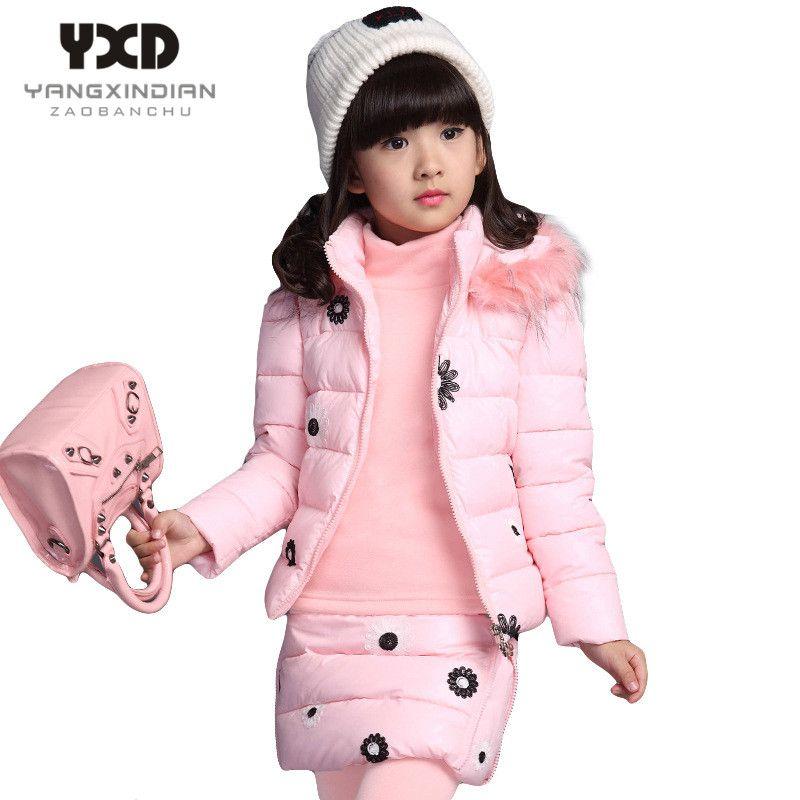 Büyük Kızlar için çocuk Giyim Seti Kış 2017 Yeni Pamuk-yastıklı Kapşonlu Yelek Kazak Etek Pantolon 3 adet Sıcak Çocuk Suits