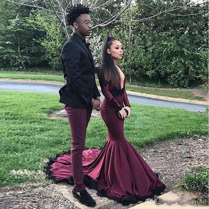 2018 sexy plus size maniche lunghe ragazza nera abiti da ballo africani sirena abiti da sera da sera nero lunga lunghezza abendkleider