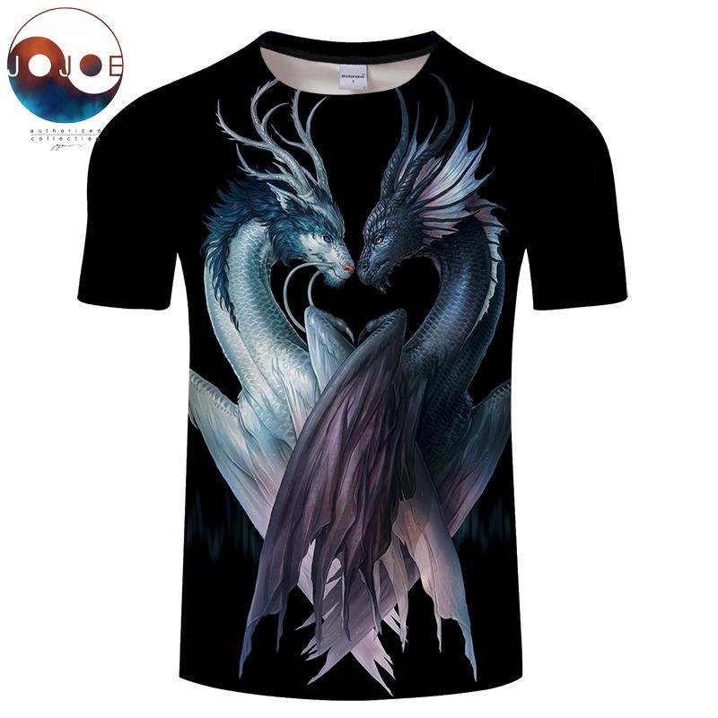 Yin e yang dragões preto por jojoesart 3d impressão t camisa das mulheres dos homens tshirt anime manga curta o-pescoço topteia streetwear da gota do navio