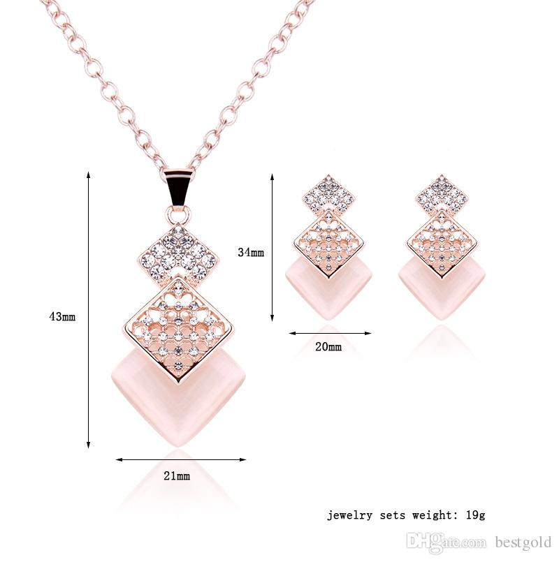 2019 Pink Jewelry Gold Plated Necklace Set Fashion Square Diamond
