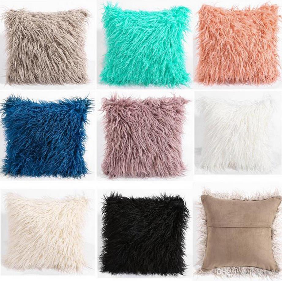 "Soft Long Plush Throw Furry Pillow Case Luxury Home Decor Cushion Cover Bed Sofa 18*18"" 8colors"