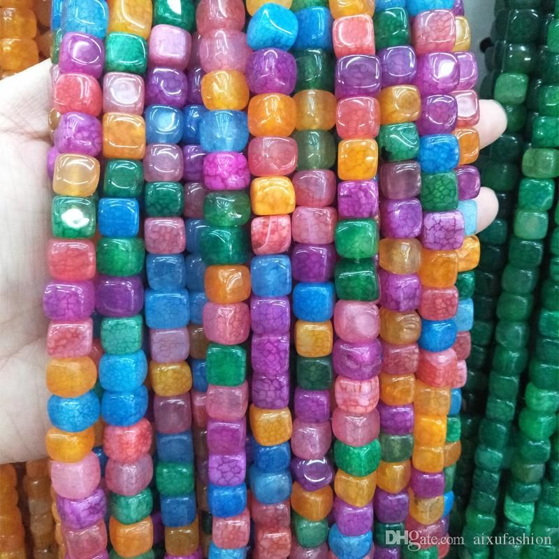 8mm Natural Crystal Agate Stone Beads Square Shape Green Raw Cracked Stone Bead For Jewelry Making DIY Accessories Strand 15''