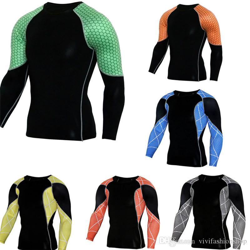 Mens Fitness Basketball Running T-shirts Gym Compression Tights Sports T-shirt Men's Sportswear Sport Gear Clothing DH043