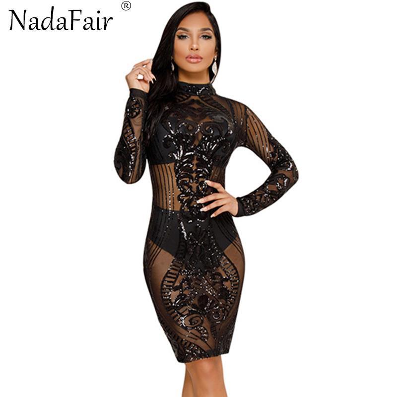Dolcevita a maniche lunghe Nadafair con paillettes See Through Mesh Vestito sexy da club Vestito da longuette
