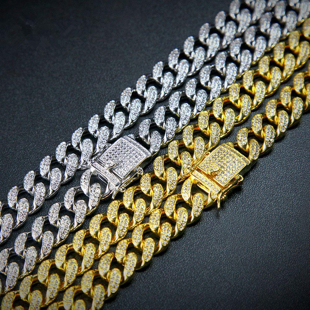 Europäische und amerikanische Hip-Hop Mikro-Zirkone Kette Schwerindustrie Zirkone Knopf 18inch Halskette
