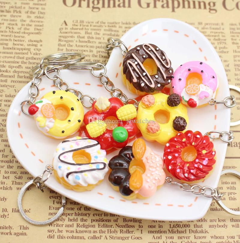 Simulation Colorful Food Cake Donuts Keychain Wholesale Party Gift Cheap Key Ring