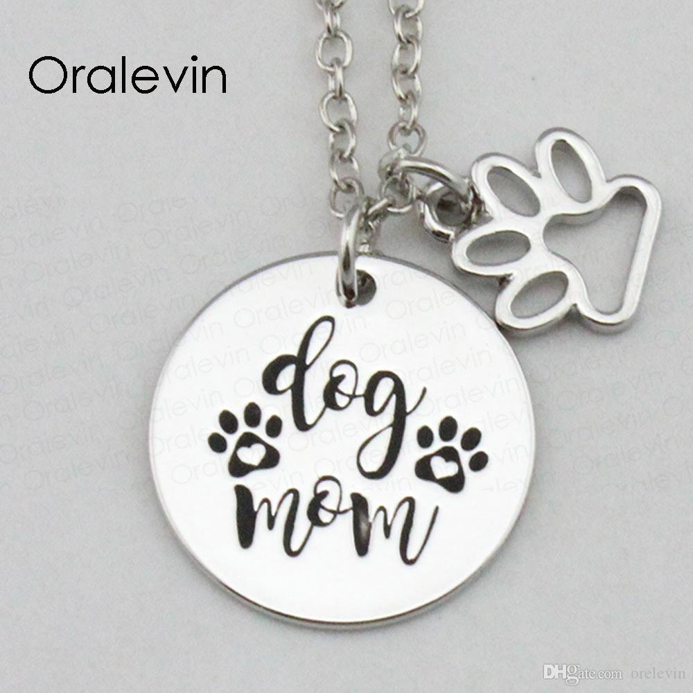 Мода собака мама вдохновляющие ручной гравировкой выгравированы пользовательские очарование кулон ожерелье цепь металла штампованные ювелирные изделия, 18 дюймов, 22 мм, 10 шт. / лот, #LN2341