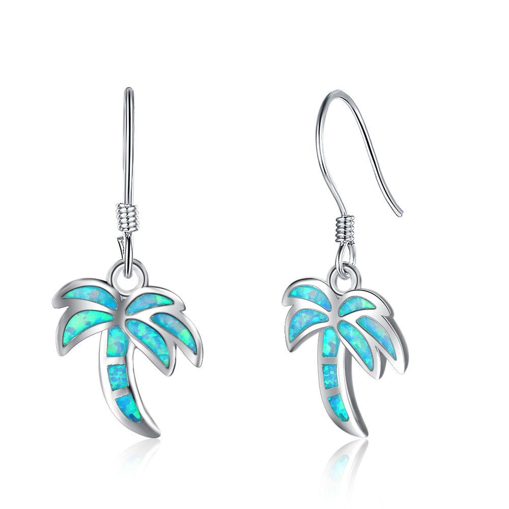 EA102077 calidad superior de la manera popular árbol de plata de ley 925 Pendientes de coco pescado gancho del oído con Simluated ópalo azul para las niñas