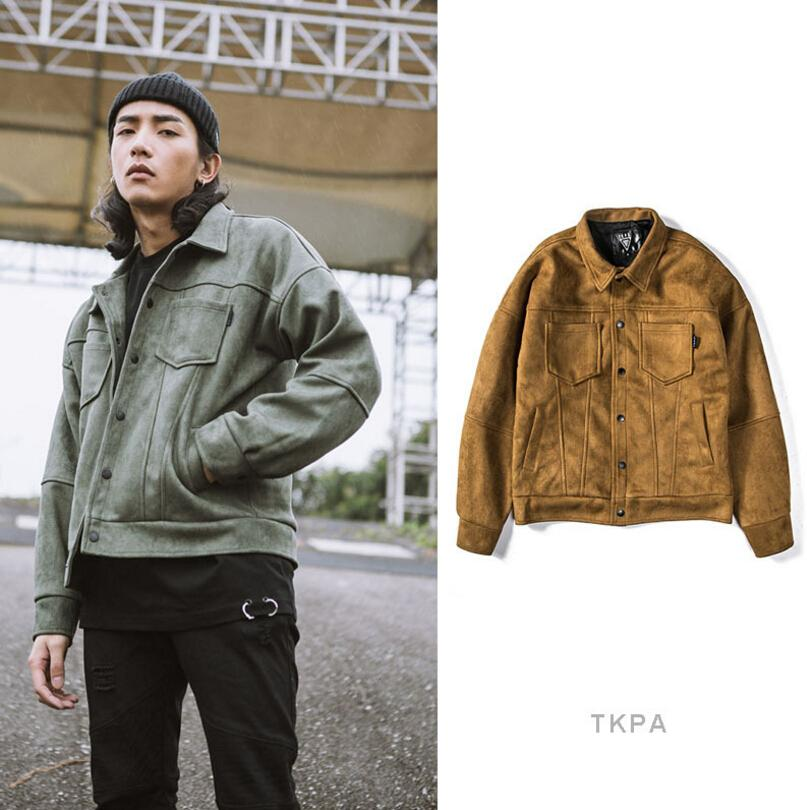 d23188e87 TKPA Men Motorbike Jackets Suede Leather Vintage Clothing Streetwear Jacket  Hip Hop Style Casual Loose Coats Bomber Leather Jacket Jacket Leather From  ...