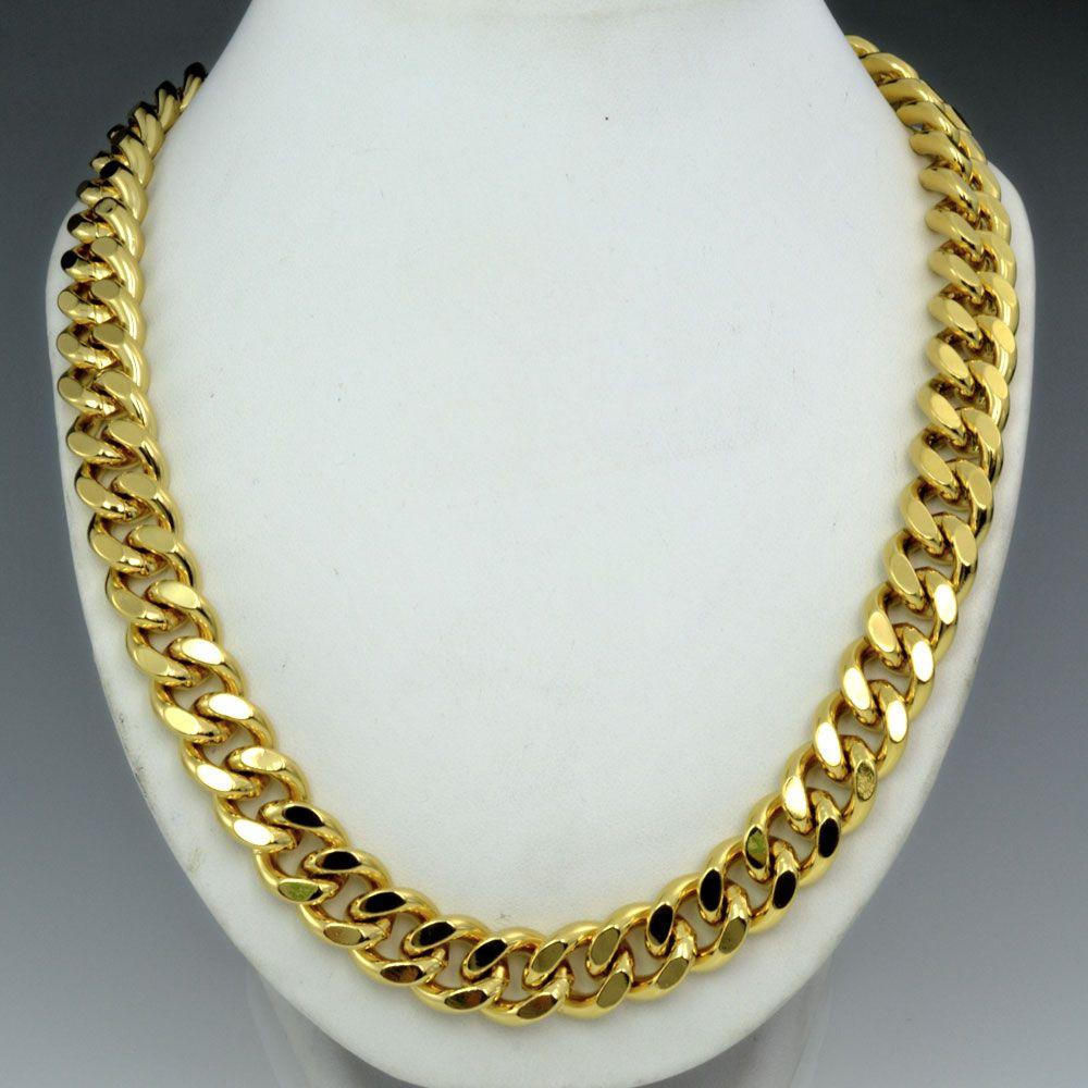 18K złoto wypełnione męskie solidne ciężkie łańcuch długi naszyjnik krawężnik pierścień łączy jewell n224