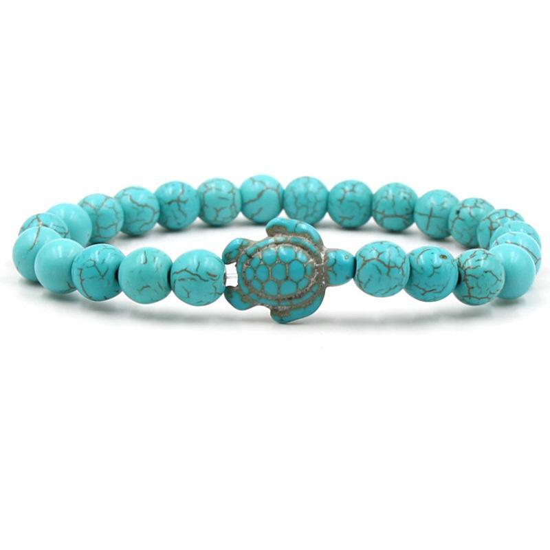 Летний стиль Морская Черепаха бусины браслеты для женщин мужчины классический 14 цветов натуральный камень эластичный браслет дружбы пляж ювелирные изделия