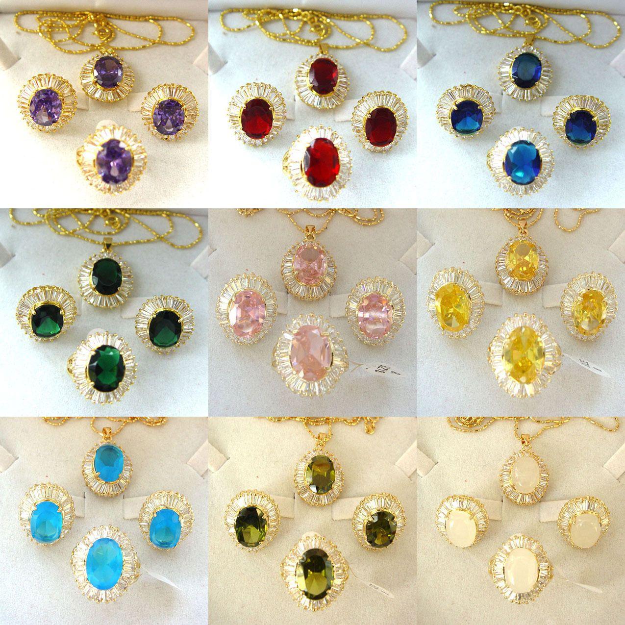 Multicolor Zircon Cristal d'Or Pendentif Collier Boucles d'oreilles Ensembles anneau