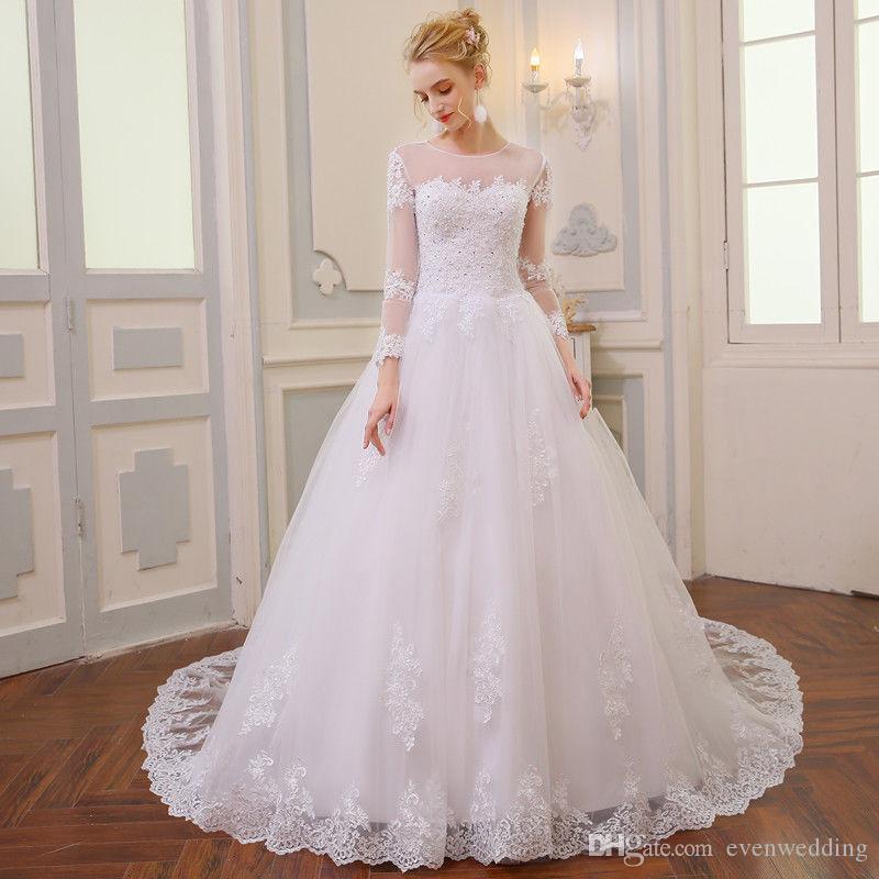 쥬얼 넥 레이스 튜 뤼 스위프트 트레인 2019 라인 웨딩 드레스 New Bridal Gowns robe de mariée