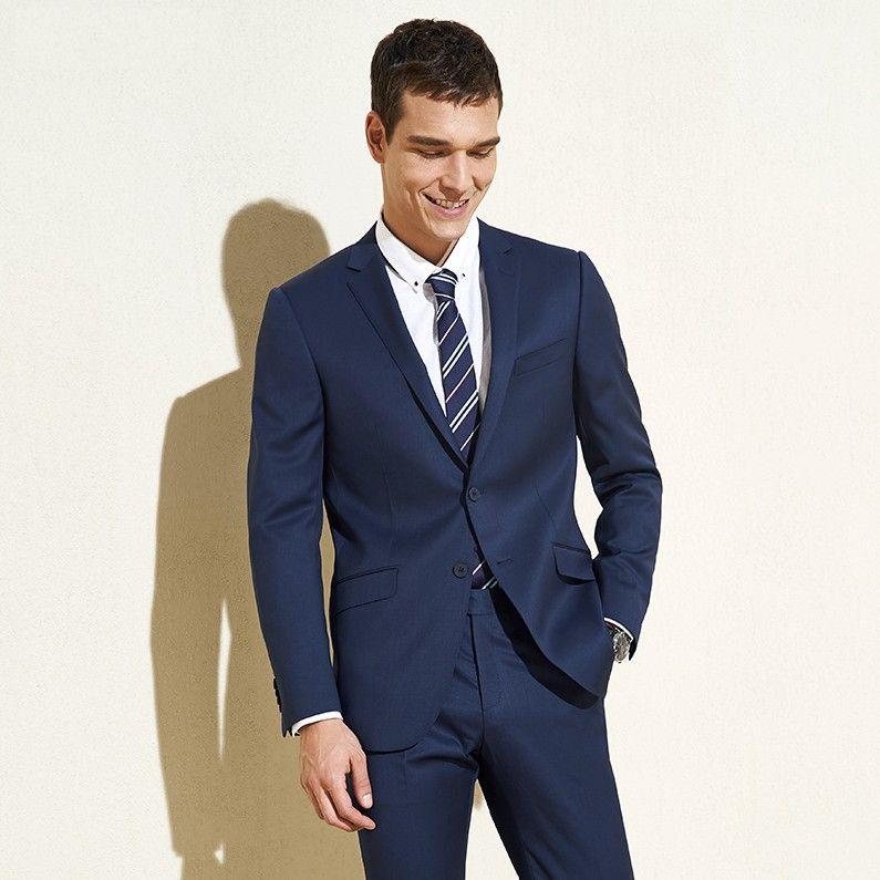 Дизайнер темно-синий мужские костюмы Slim Fit Groomsmen свадебные смокинги две части костюм жениха зубчатый лацкан бизнес блейзеры с курткой и брюками
