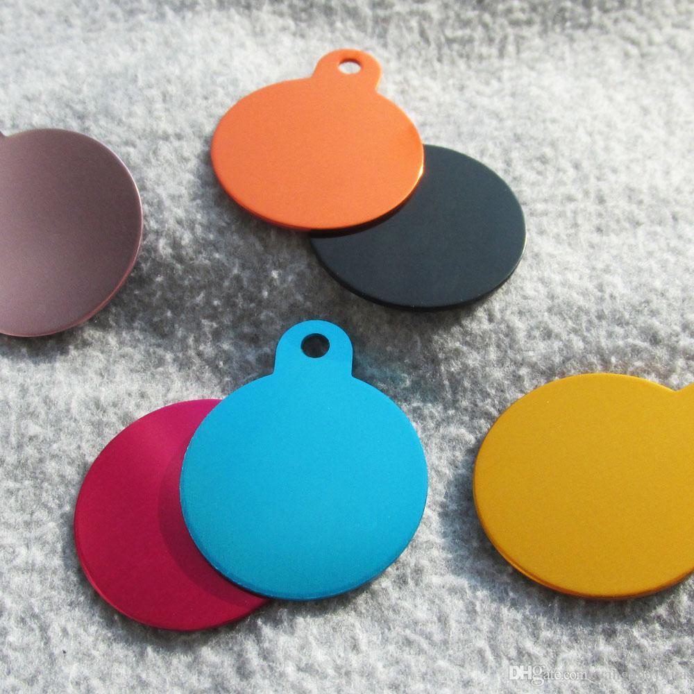 100pcs/lot Wholesale Aluminum Circle shaped Pet Dog ID Tags Blank Pet Cat Name Tags pendants