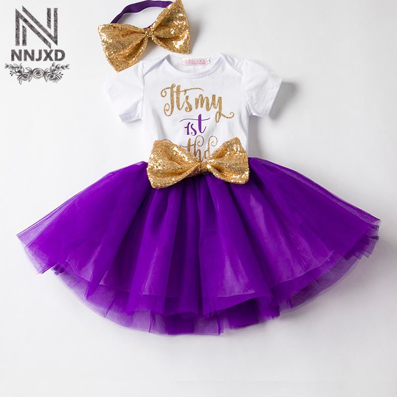 Bebek Kız Ilk 1st Doğum Günü Kıyafetler Yenidoğan Bebes Giyim Setleri Suits Beyaz Romper Tutu Etek Kafa Toddler Kız Giysi Set