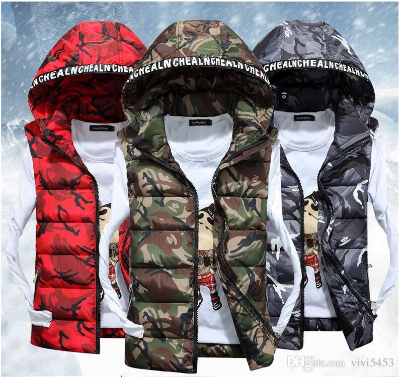 Domple Men Zipper Quilted Stylish Hooded Sleeveless Down Vest Jacket