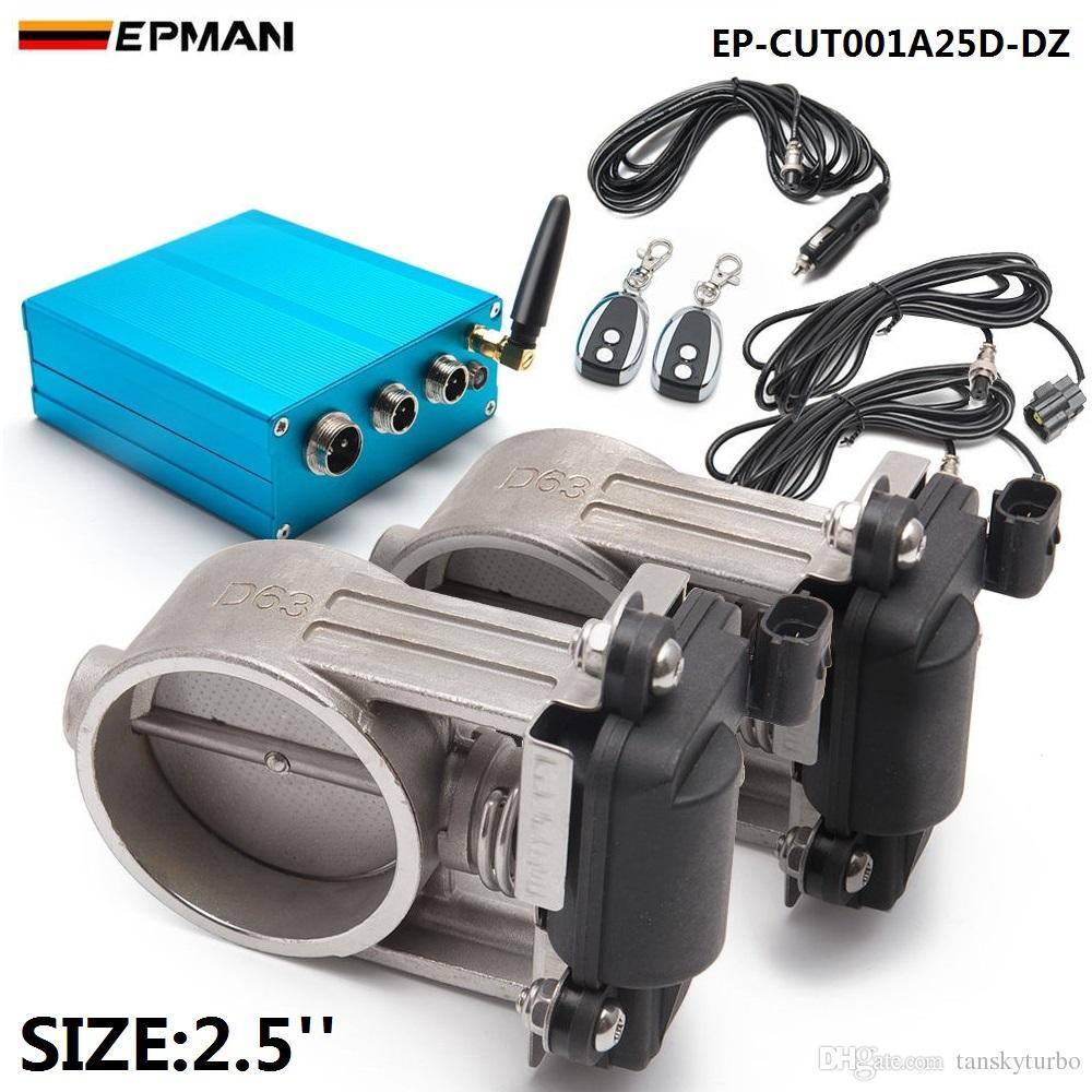 """EPMAN - Zestaw sterownika zaworu wydechowego z dopasowaniem zaworu dla 2 """"/2,25"""" /2.5 """"/2.75"""" / 3 """"Regulowany wydechowy Dual Catpipe Ep-Cut001A25D-DZ"""