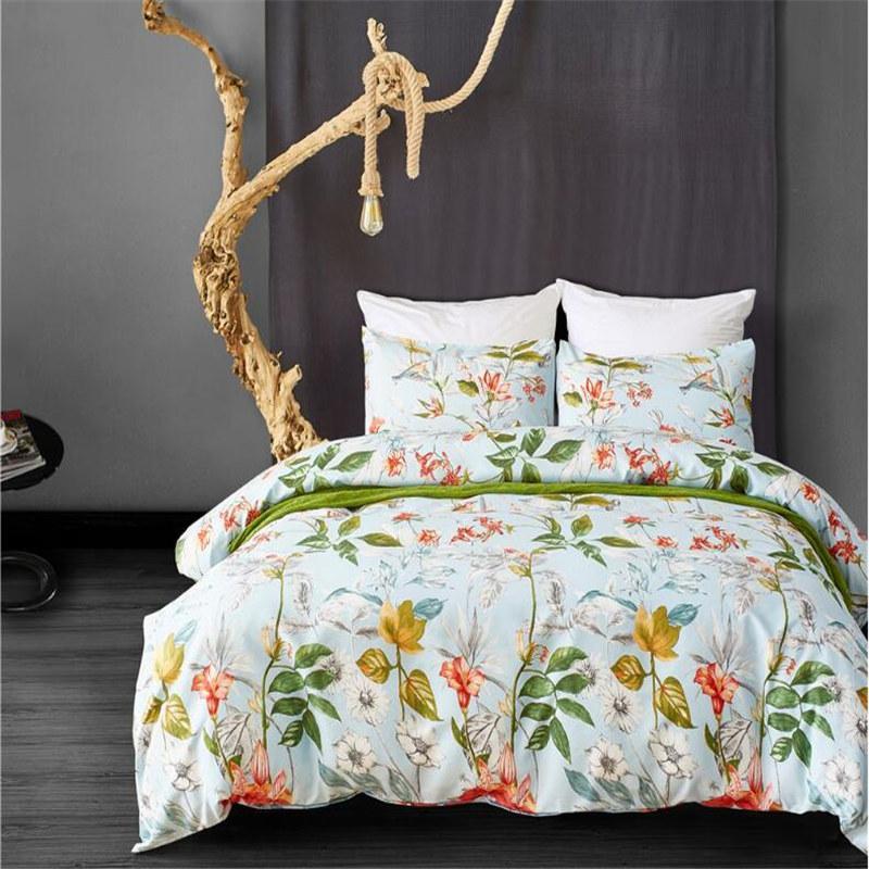 Bedding set Comfortable Queen King size Ropa de cama Duvet cover Pillowcase Blue Single Flowers Parure de lit adulte Edredon