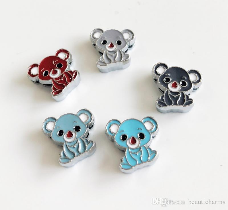 10 adet 8 MM Emaye Karışık renk Koala Slayt Charms Boncuk DIY Aksesuarları Fit 8mm Yaka Kemerler Bilezikler