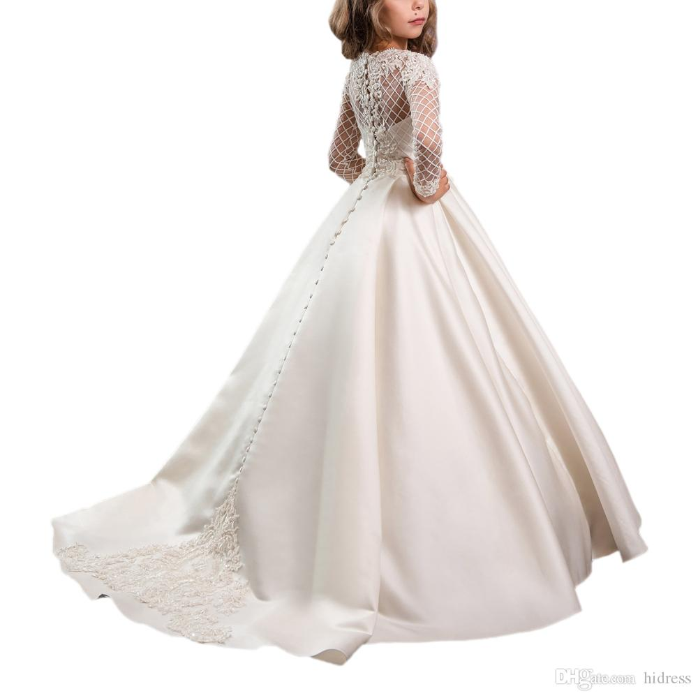 Flower Girl Princess Dress Wedding Pageant Birthday Party Formal Communion Gown