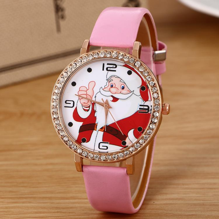 Foreign trade Santa Claus watches for men and women students point drill thin belt watch point drill fashion Christmas gift table