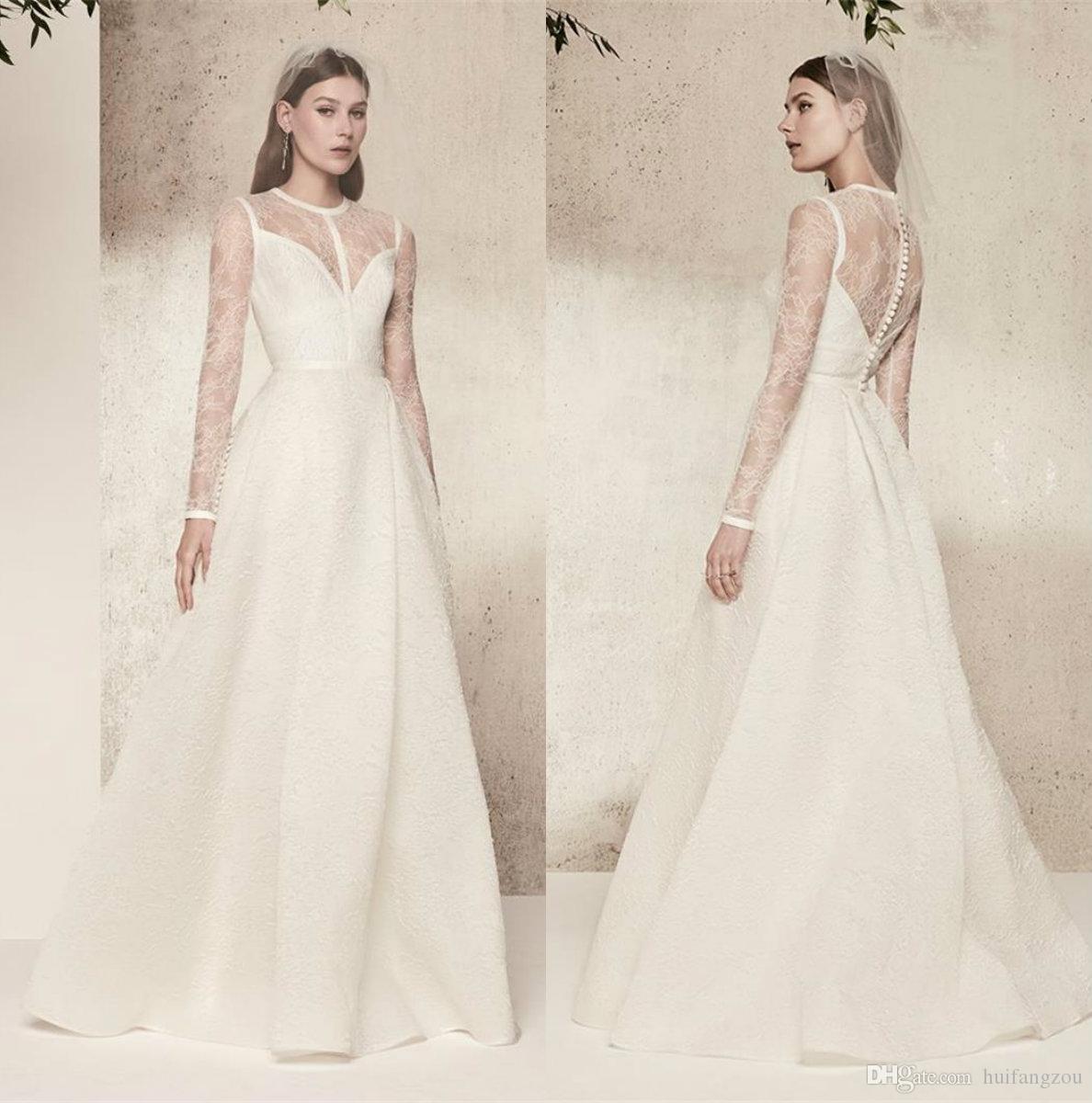 Großhandel Elie Saab Vintage Brautkleider Plus Size Mit Ärmeln Sheer Spitze  Top Qualität Satin Brautkleider Bodenlangen Einfache Brautkleid Von