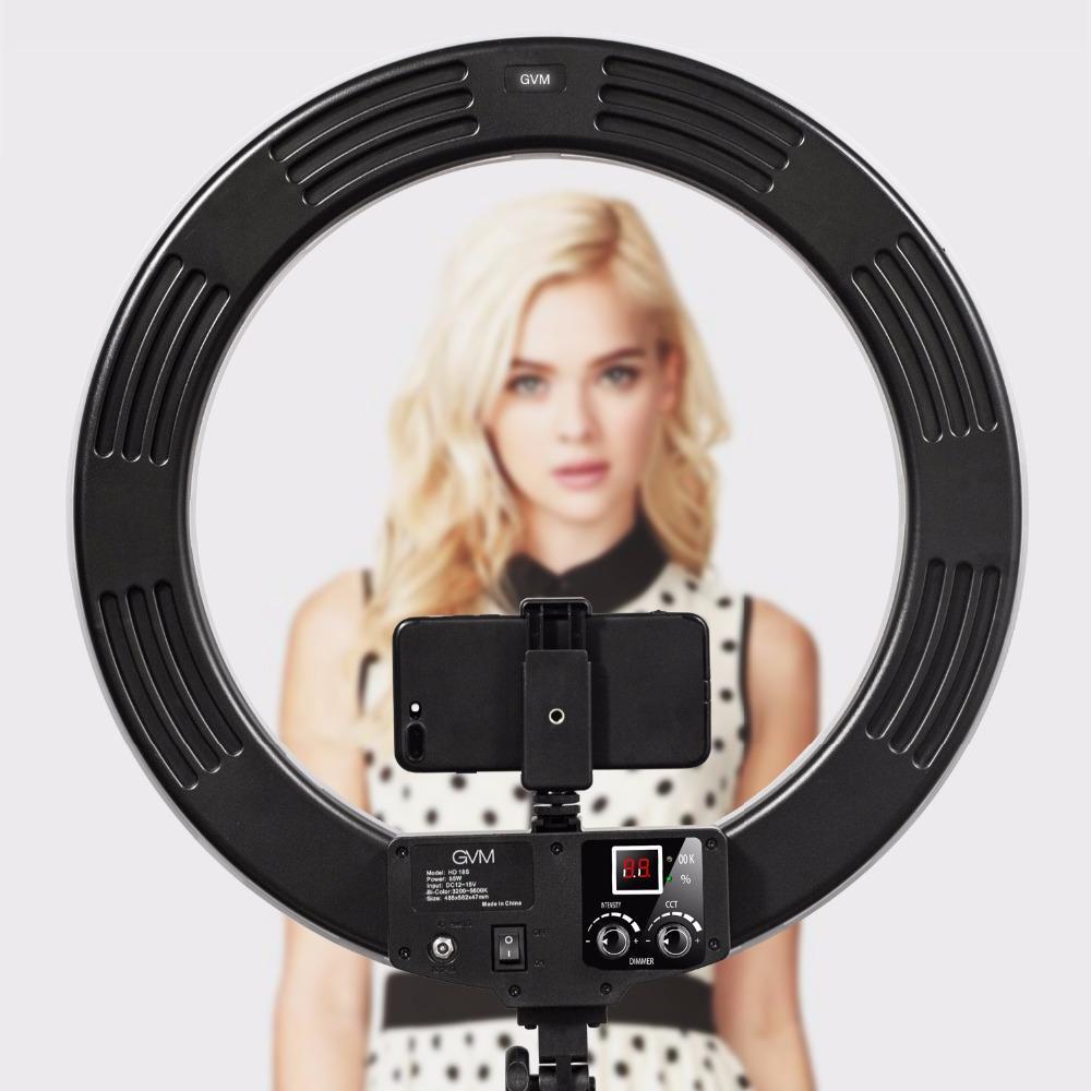 GVM LED Ring Light con supporto 3200K-5600K Dimmable Video Ring Light per il trucco YouTube Fotografia Kit di illuminazione
