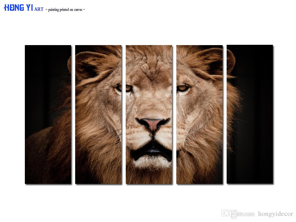 Large Contemporary Hot Sale 5 Panel Art Wall Animal Lion Head oil painting Picture Printed on canvas for Living Room Bedroom Home Decor