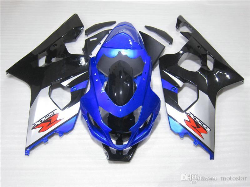 Kit de venta caliente para SUZUKI GSXR600 GSXR750 04 05 K4 mercado de accesorios GSX-R600 / 750 2004 2005 negro azul carenados de plata FF66